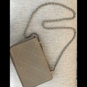 🌸Tory Burch small taupe saffiano crossbody bag